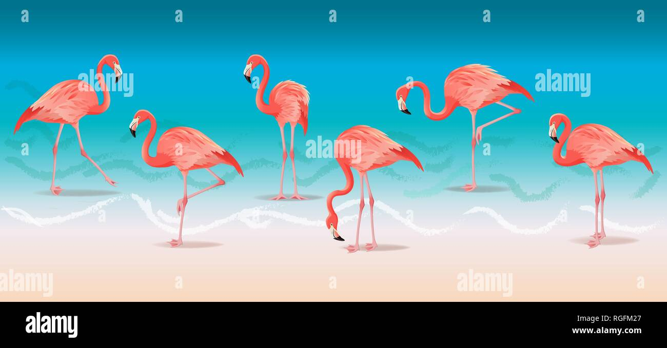 Exotic pink flamingos walking on the hot summer beach. Pink flamingos set vector illustration. - Stock Vector