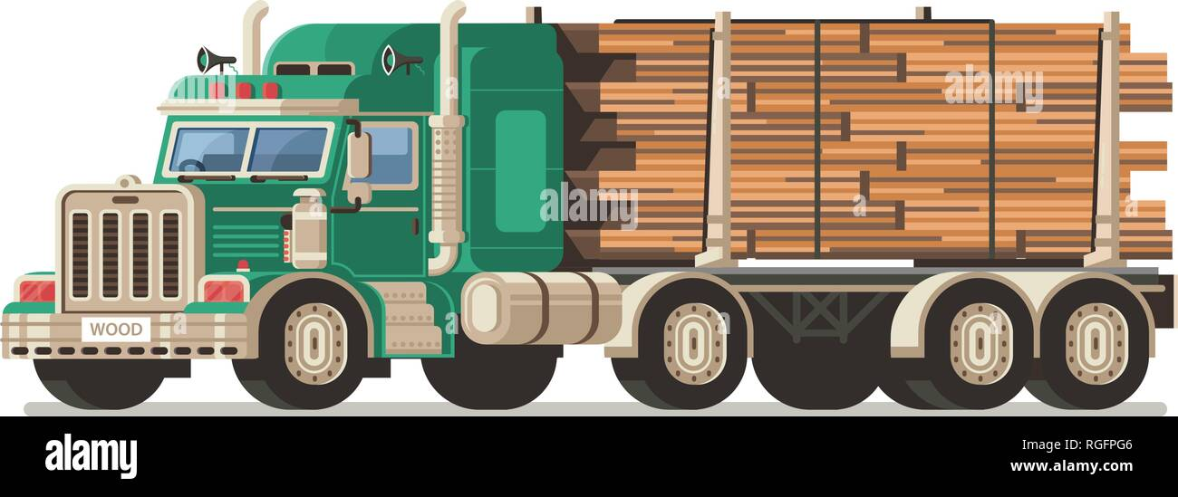 Logging Truck With Timber Logs - Stock Vector