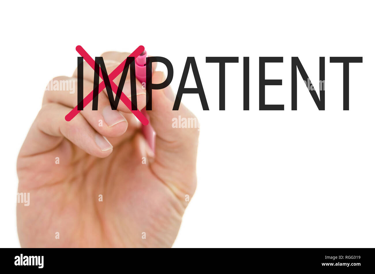 Turning the word Impatient into Patient by crossing off letter IM. - Stock Image