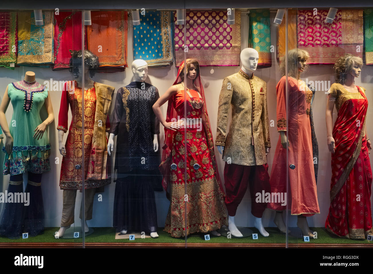 772f4358b2 A shop window in Little India area, Singapore, displays ethnic Indian  fashion - Stock