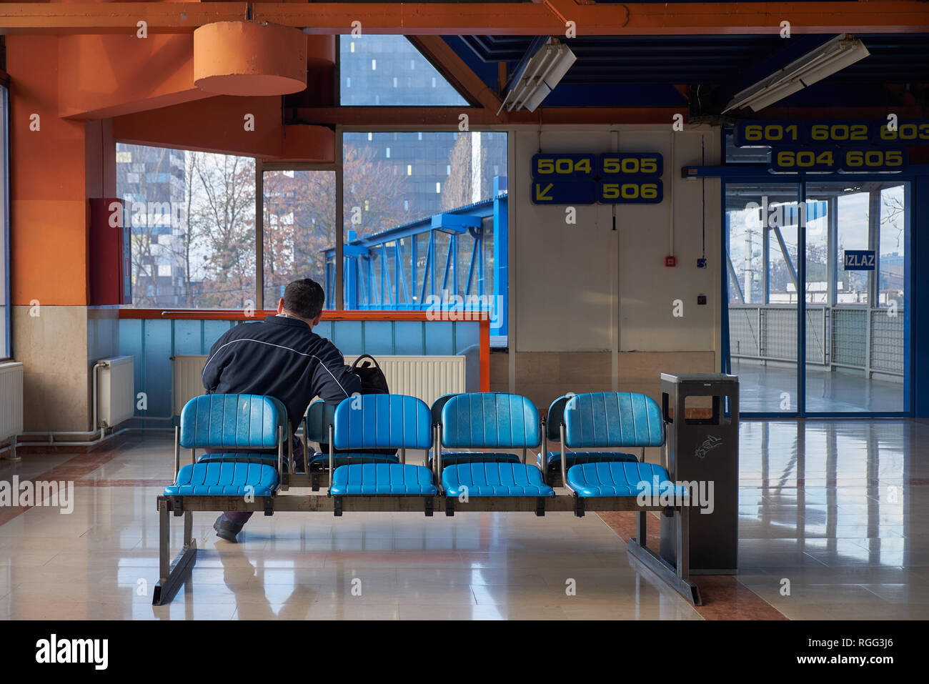 Waiting Room Of The Zagreb Bus Station With Only One Person Waiting Seventies Orange And Blue Decor Stock Photo Alamy