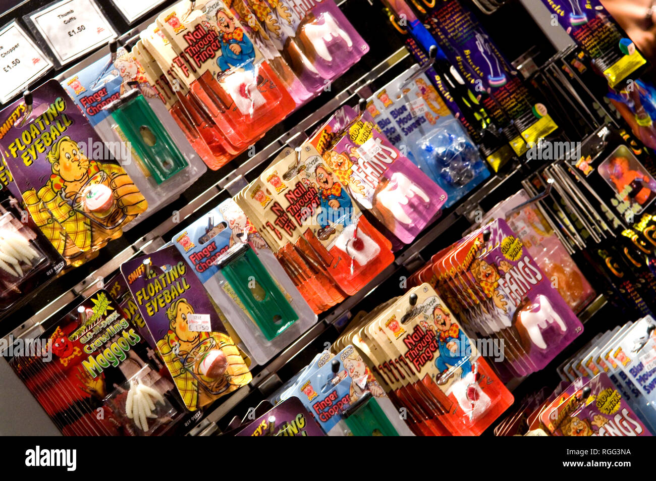 Gruesome toys and novelties such as the floating eyeball and pretend maggots for sale in the London Dungeon. - Stock Image