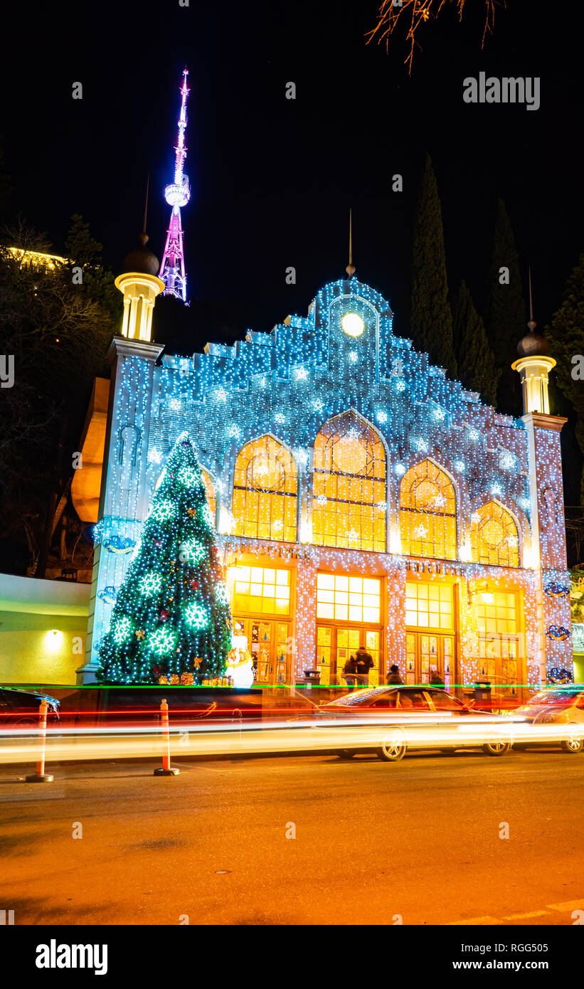 Christmas Lights In Georgia 2019 Georgia   Tbilisi. Christmas and New 2019 year illumination on the