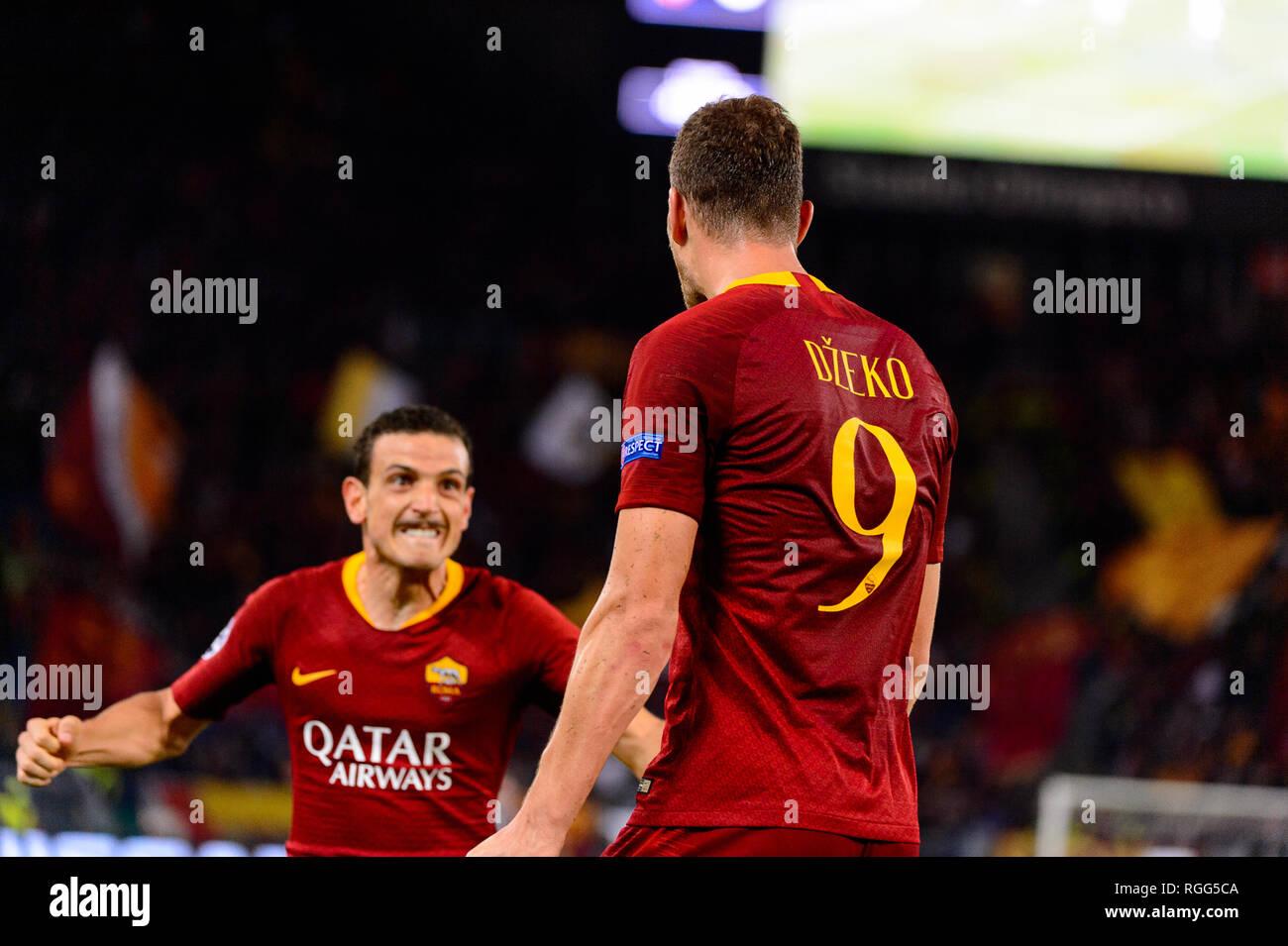 ROME - OCT 23, 2018:  Edin Dzeko celebrates the goal he scored. AS Roma - CSKA Moscow. UEFA Champions league. Matchday 4. Stadio Olimpico - Stock Image