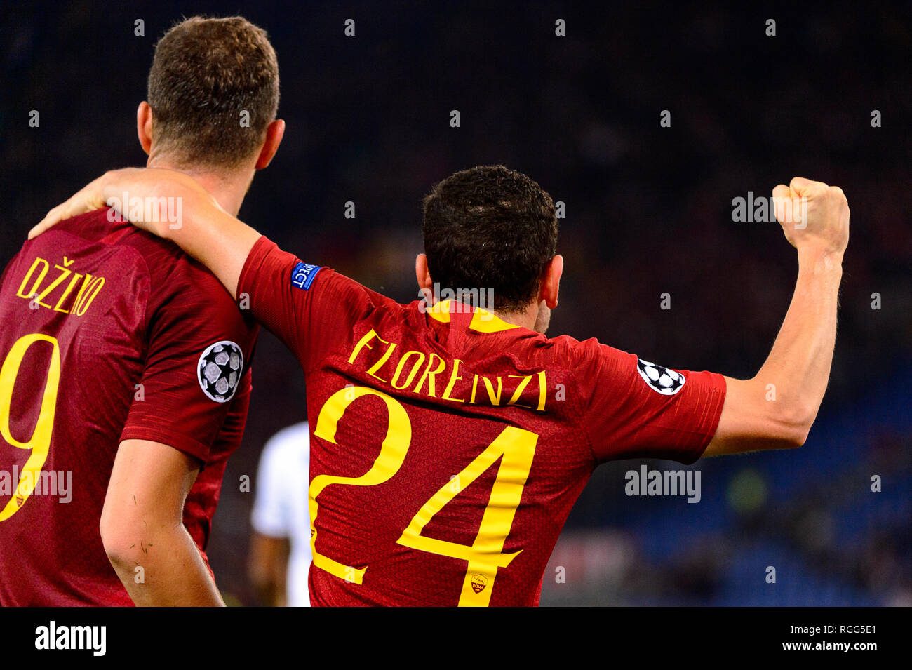 ROME - OCT 23, 2018:  Edin Dzeko celebratates the goal with Florenzi. AS Roma - CSKA Moscow. UEFA Champions league. Matchday 4. Stadio Olimpico - Stock Image