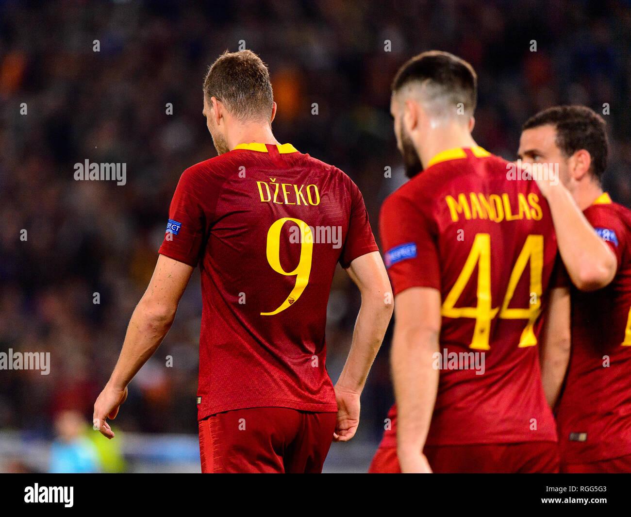 ROME - OCT 23, 2018:  Edin Dzeko celebratates the goal with his teammates. AS Roma - CSKA Moscow. UEFA Champions league. Matchday 4. Stadio Olimpico - Stock Image