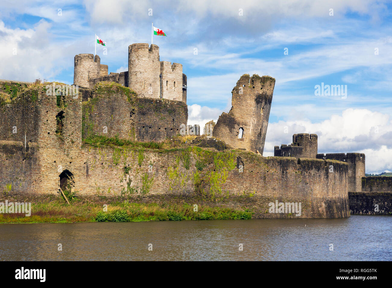 Caerphilly, Caerphilly, Wales, United Kingdom. Caerphilly castle with its moat. - Stock Image