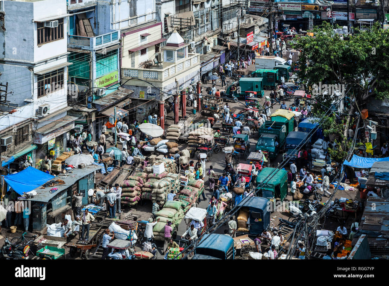 Busy street, Old Delhi, India - Stock Image