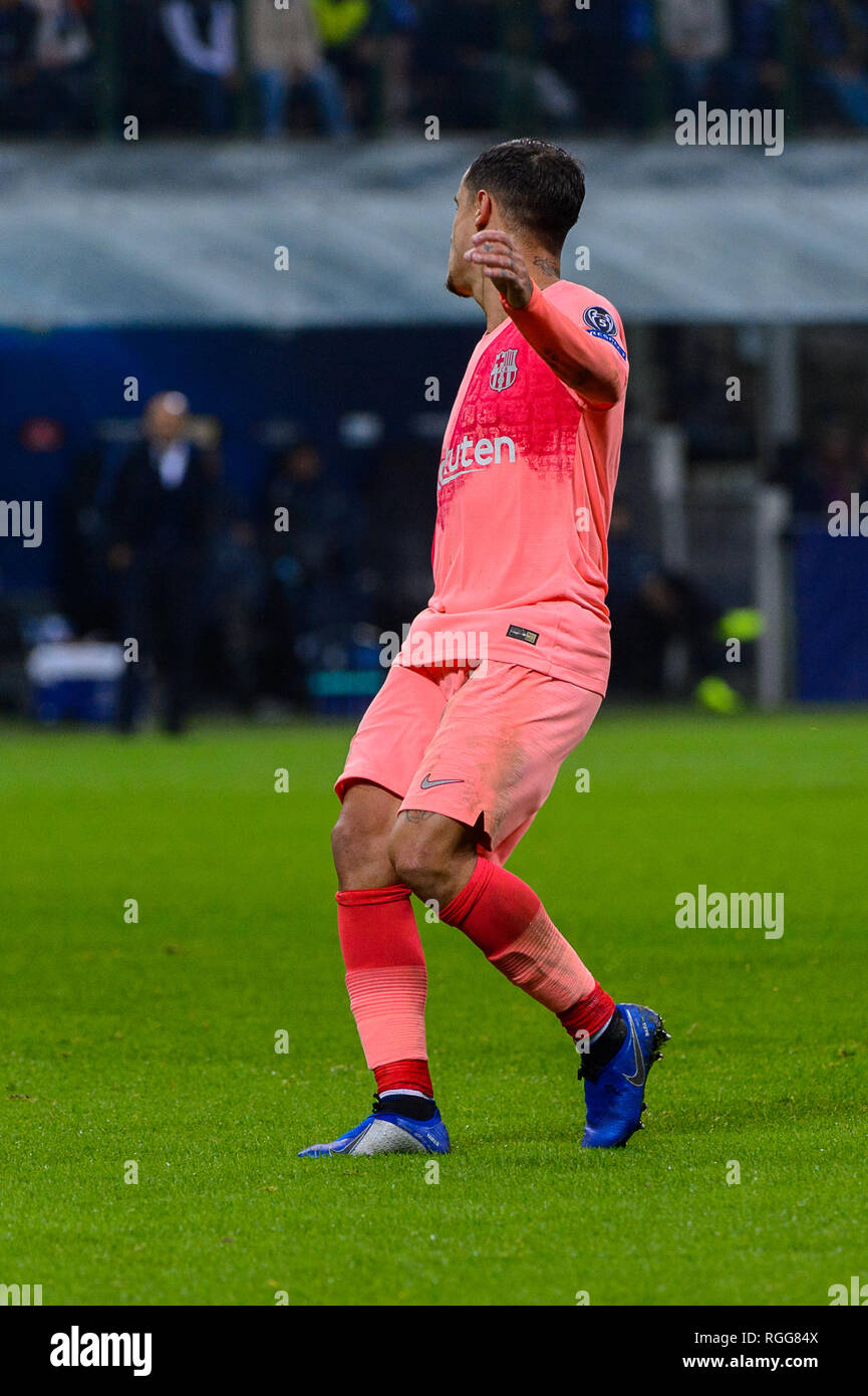 Milan - Nov 6, 2018: Philippe Coutinho 7. FC Internazionale - FC Barcelona. UEFA Champions League. Matchday 4. Giuseppe Meazza (San Siro) stadium. Stock Photo