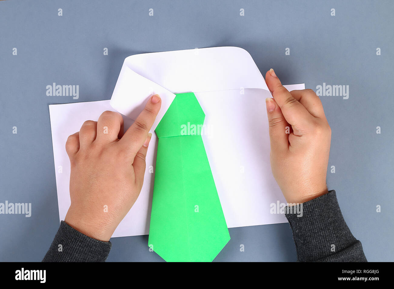 Diy White Shirt Paper With Green Tie Epaulets Ideas Gift Decor