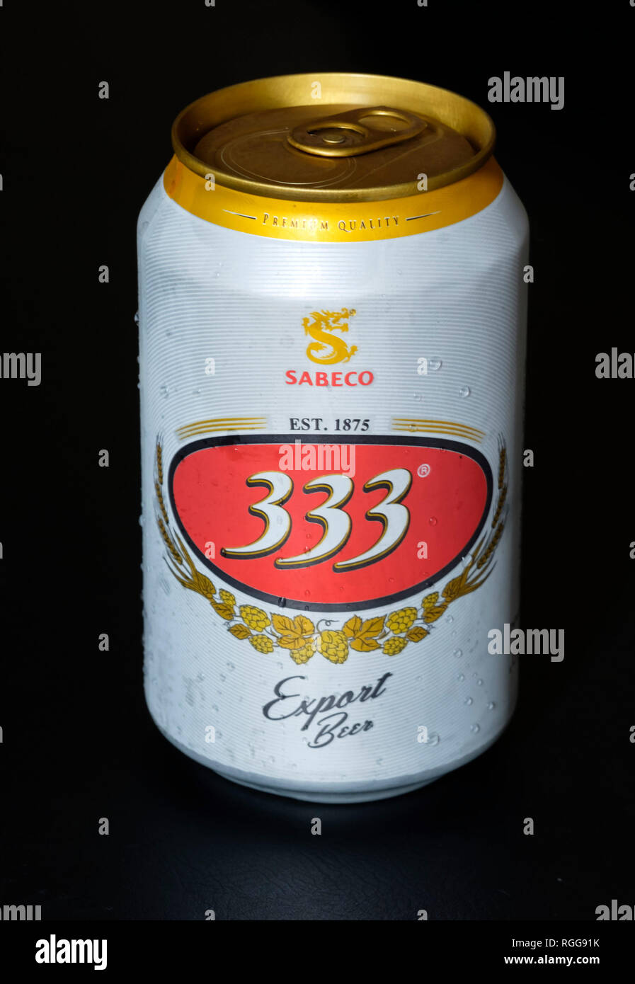 Sabeco 333 vietnamese beer can - Stock Image