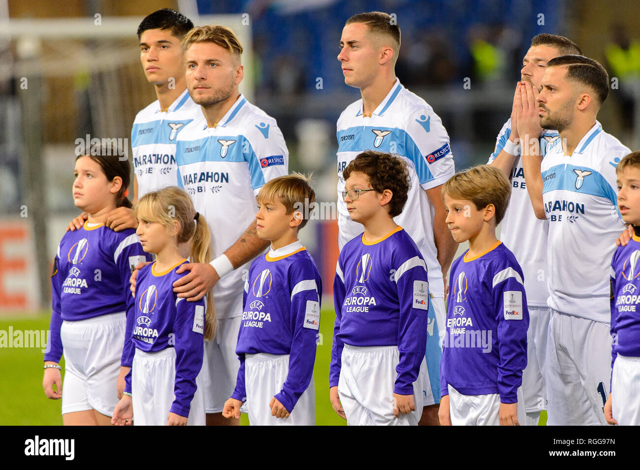 ROME - NOV 8, 2018: Ciro Immobile 17 before the match. SS Lazio - Olympique Marseille. UEFA Europe League. Stadio Olimpico. - Stock Image