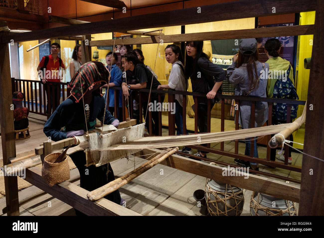 Asian tourists at the Vietnam Museum of Ethnology, Hanoi, Vietnam, Asia - Stock Image