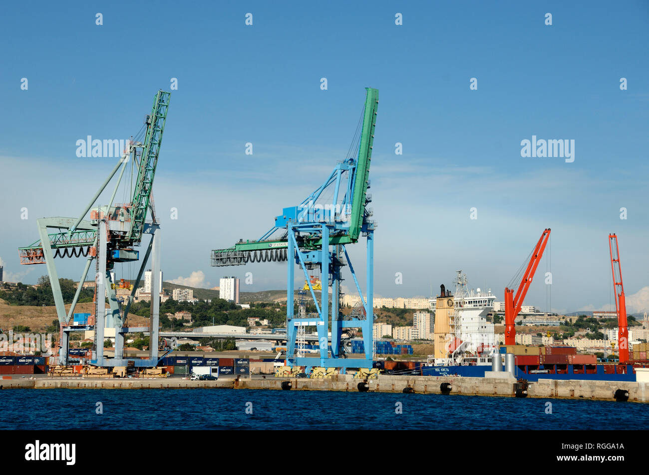 Cranes and Shipping Containers in Container Port or Docks Marseille France Stock Photo