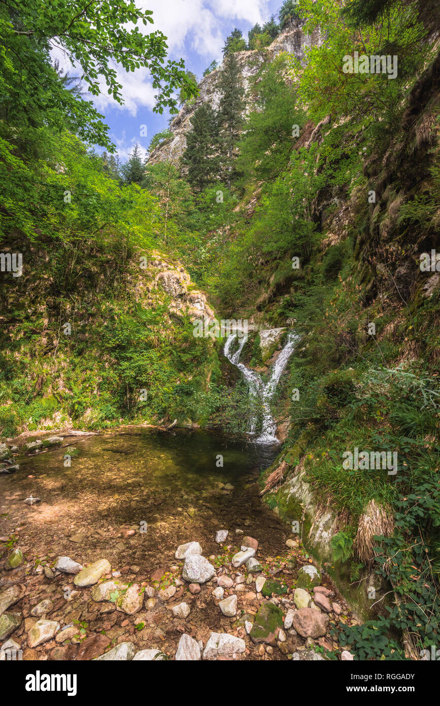 All Saints Waterfalls, town Oppenau, Northern Black Forest, Germany, lower section of the falls - Stock Image