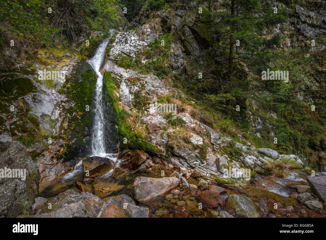 All Saints Waterfalls, town Oppenau, Northern Black Forest, Germany, upper section - Stock Image
