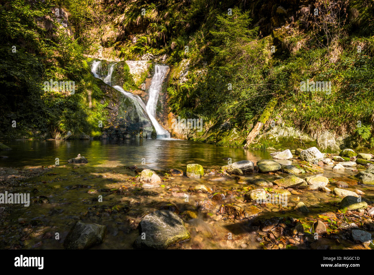 All Saints Waterfalls, town Oppenau, Northern Black Forest, Germany, lower section of the falls with basin - Stock Image