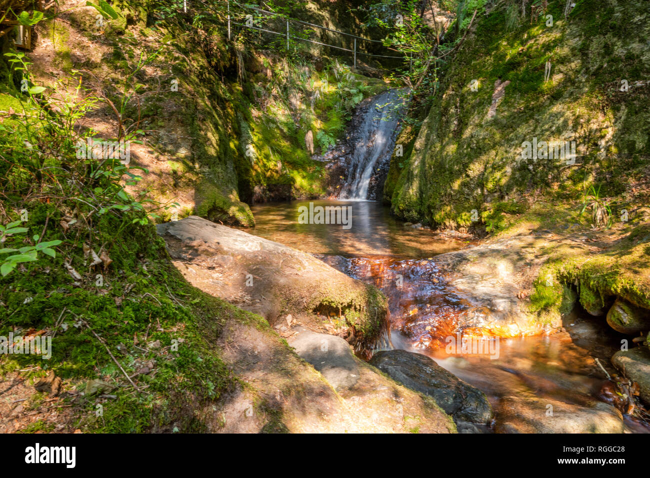 section of the Edelfrauengrab waterfalls, Northern Black Forest, Germany, town Ottenhöfen, also ascent in the valley Gottschlägtal to Karlsruher Grat - Stock Image
