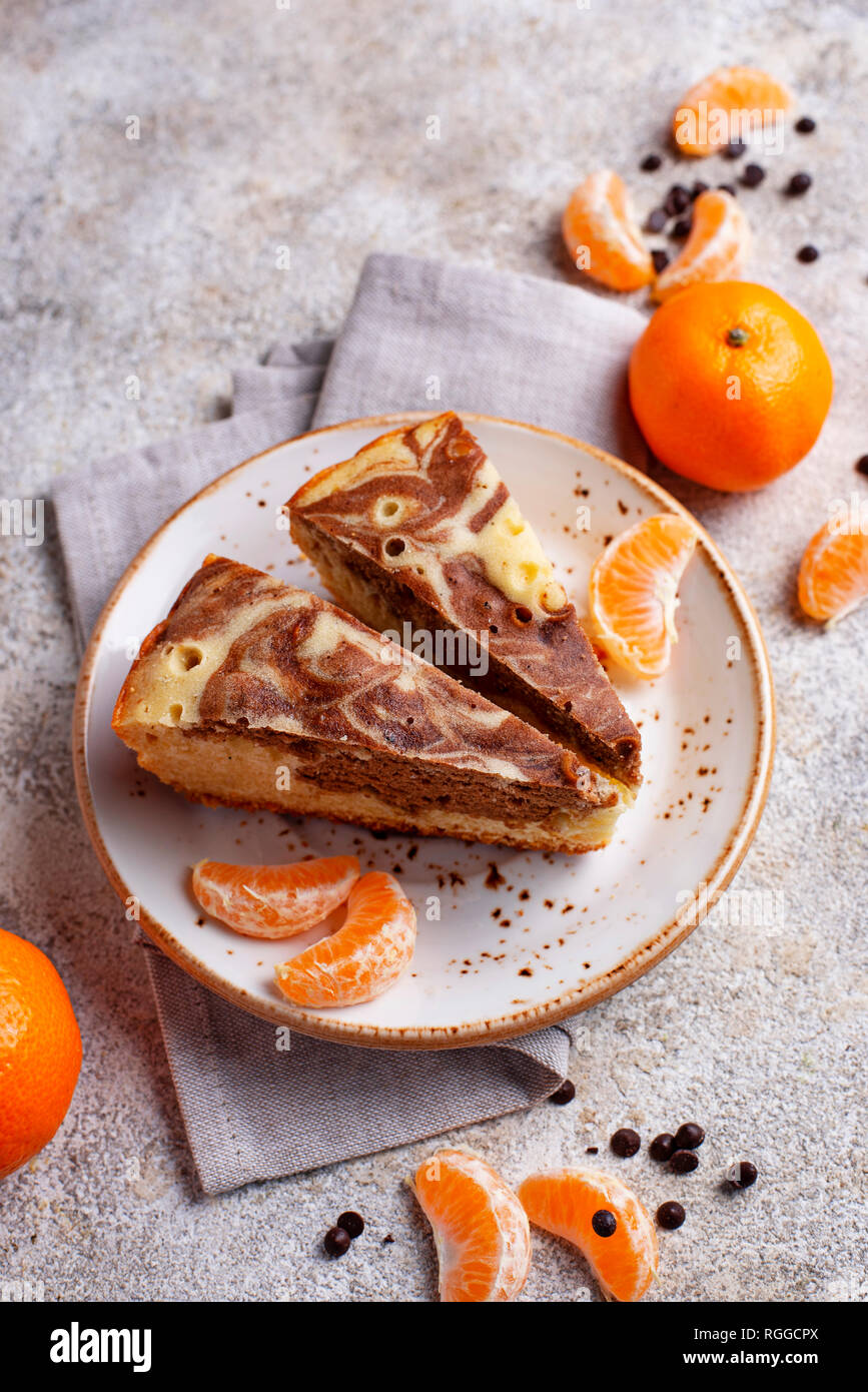 Marble cake with chocolate and orange - Stock Image