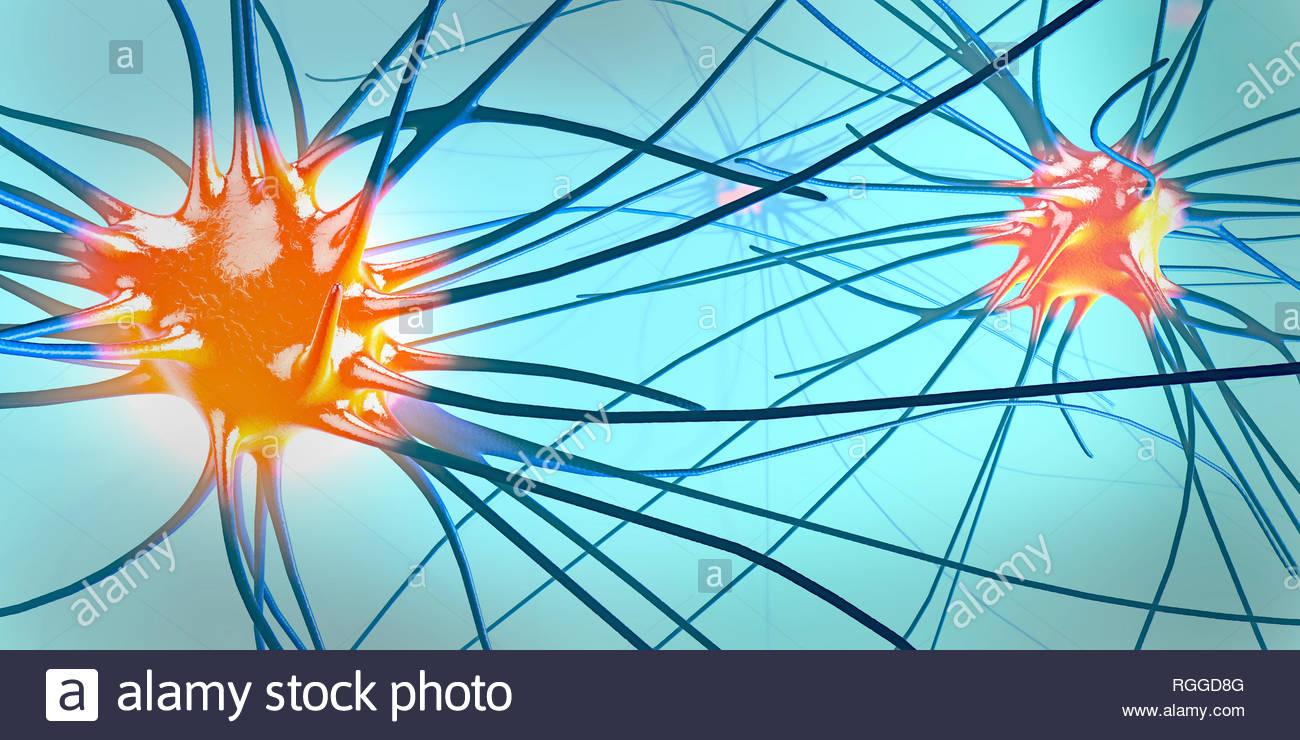 3d illustration of transmitting synapse,neuron or nerve cell - Stock Image