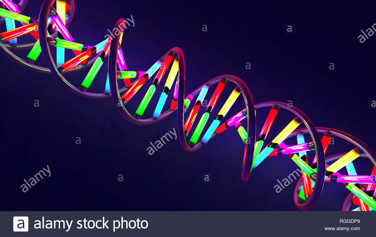 3d illustration of a multicolored neon light-like twisted DNA strand made of glass and metal - Stock Image