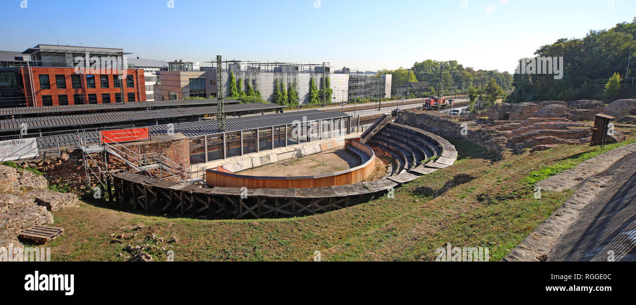 Roman theatre of Mogontiacum (Mainz), - Stock Image