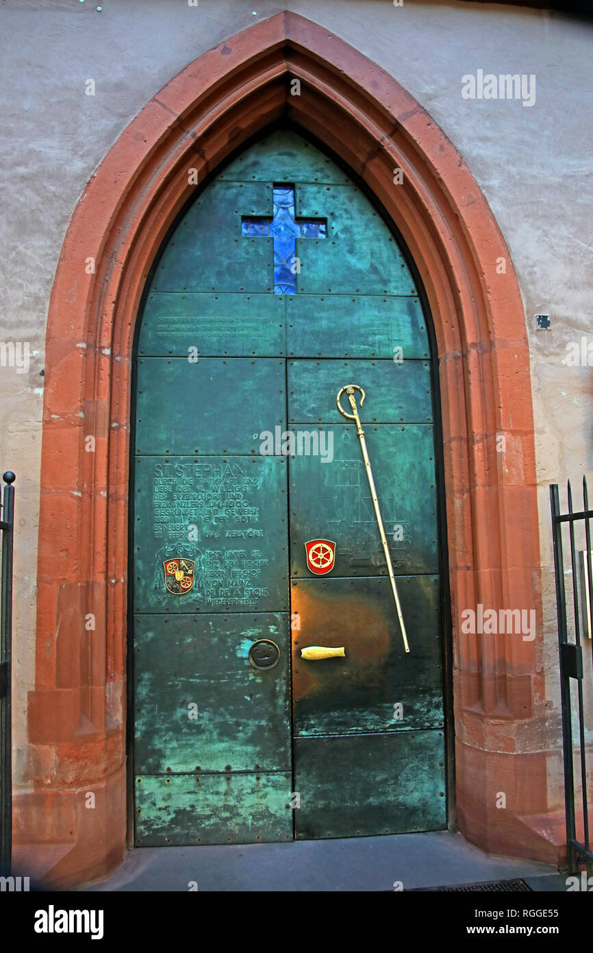 Door of St Stephens Church, Kleine Weißgasse 12, 55116 Mainz, Germany, Europe - Stock Image