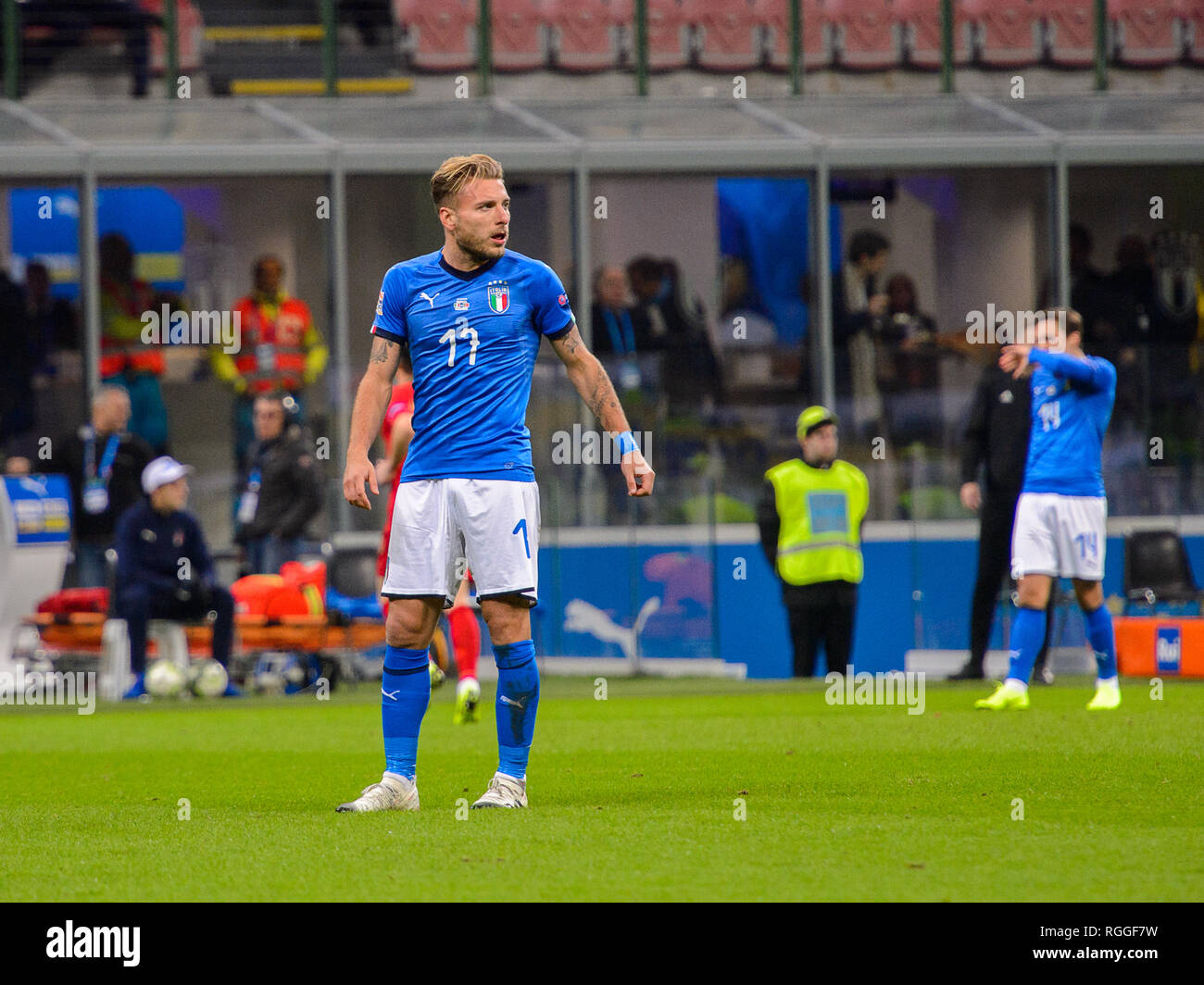 MILAN - NOV 17, 2018:  Ciro Immobile 17. Italy - Portugal. UEFA Nations League. Giuseppe Meazza stadium. Stock Photo
