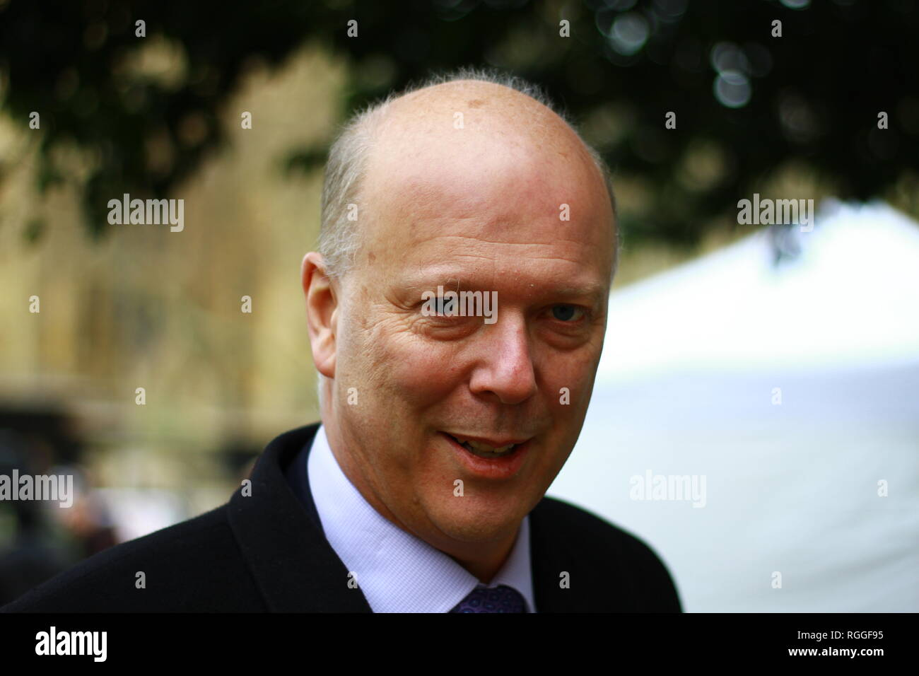 Chris Grayling MP in Westminster, London, UK on 29th January 2019. British politicians. UK members of parliament. Transport minister. Minister for Transport. Trains. HS2. HS1. Tory. Tories. Conservative party MPS. Christopher Stephen Grayling Secretary of State for Transport. Sometimes referred to as failing Grayling. - Stock Image