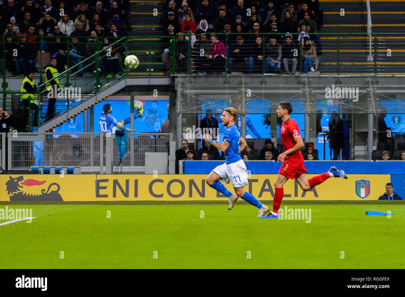 MILAN - NOV 17, 2018:  Ciro Immobile 17. Italy - Portugal. UEFA Nations League. Giuseppe Meazza stadium. Stock Photo