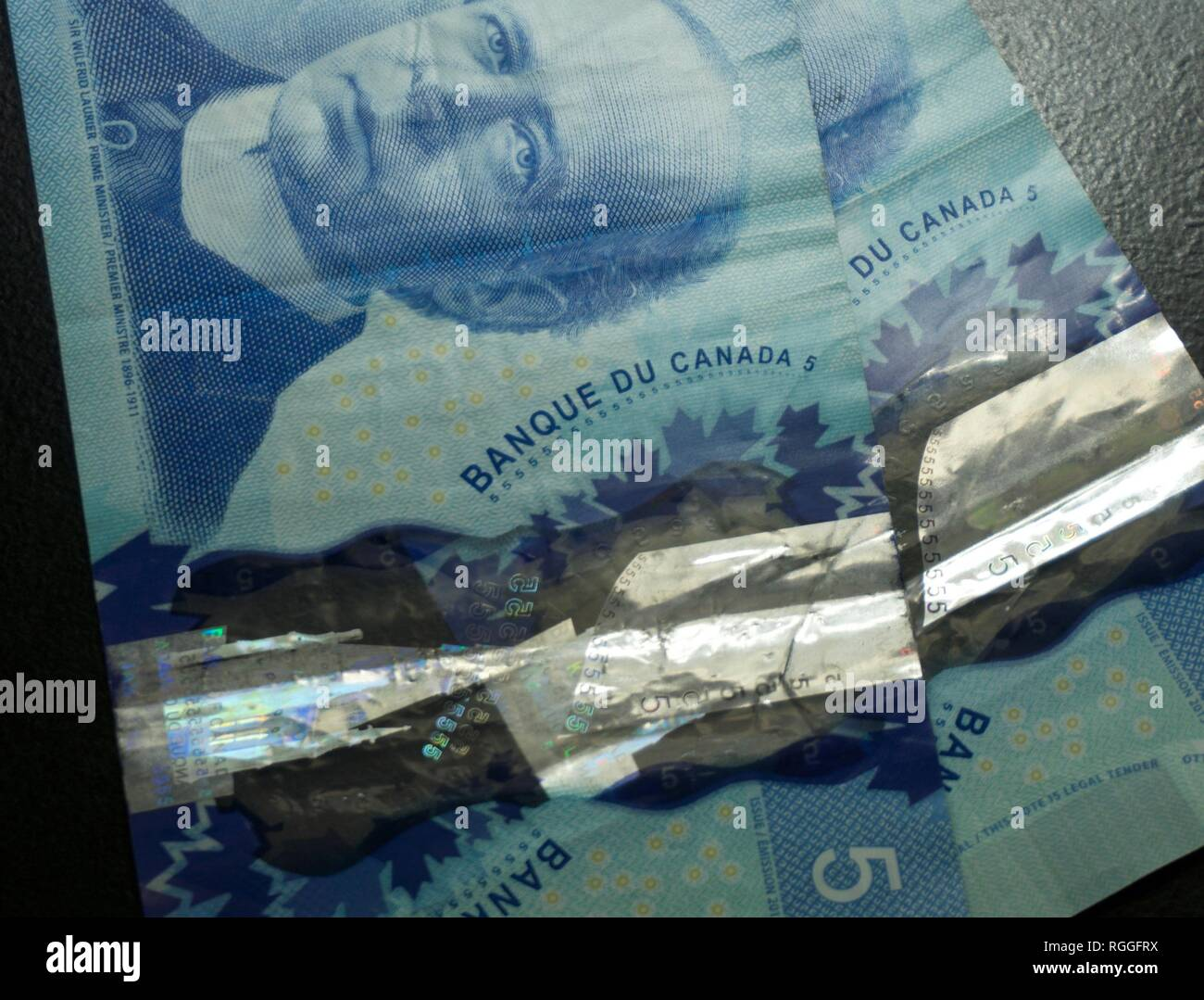 Canadian Five Dollar Bills - Stock Image