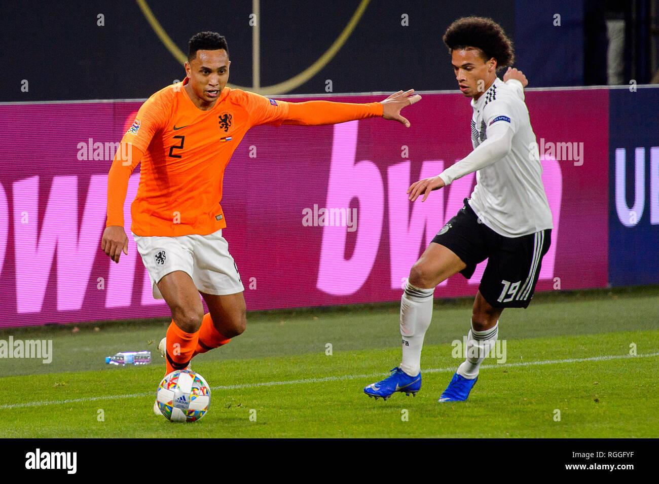 GELSENKIRCHEN - NOV 19, 2018: Kenny Tete 2 with a ball. Germany - Netherlands. UEFA Nations League. Schalke 04 stadium. - Stock Image