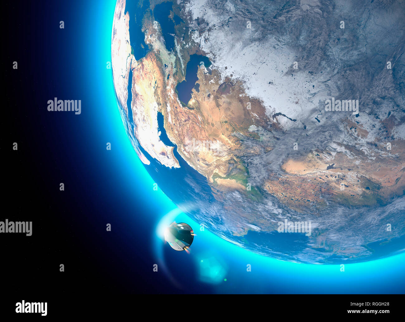 Spacecraft, crew carrier orbital capsule. Orbit around the Earth. Satellite view of the Earth. Atmosphere, friction. Nasa - Stock Image