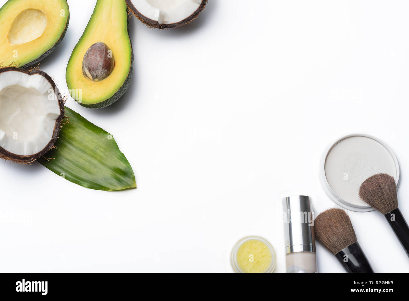 Natural herbal skin care products, top ingredients, coconut, avocado