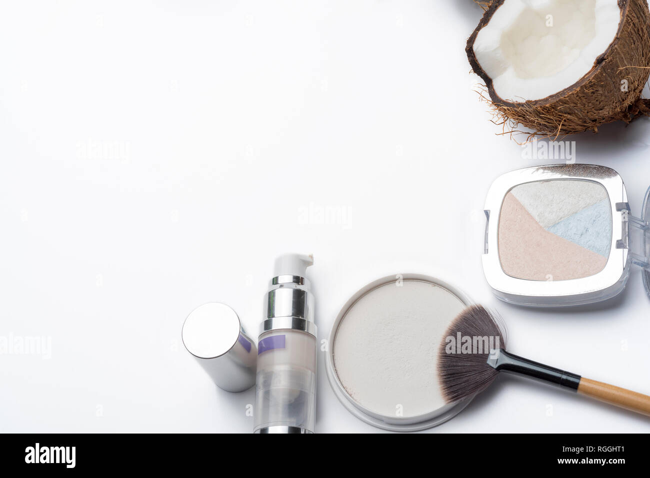 Natural Herbal Skin Care Products Top Ingredients Coconut Isolated Background Makeup Brushes For Face And Cosmetic Products Preparation Facial Ski Stock Photo Alamy