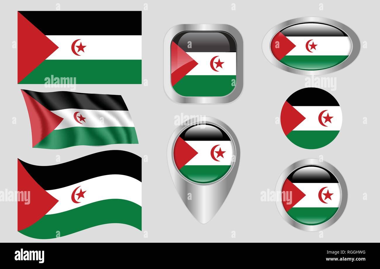 Flag of Sahrawi Arab Democratic Republic - Stock Image