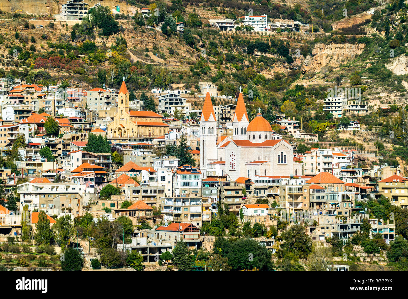 Mar Saba Cathedral and Our Lady of Diman Church in Bsharri, Lebanon - Stock Image