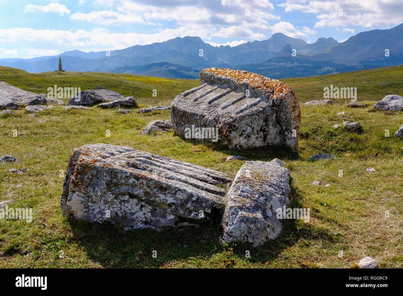 Medieval tombstones, Stecci, necropolis of the Bogumiles, near Zabljak, Zabljak Province, Montenegro - Stock Image