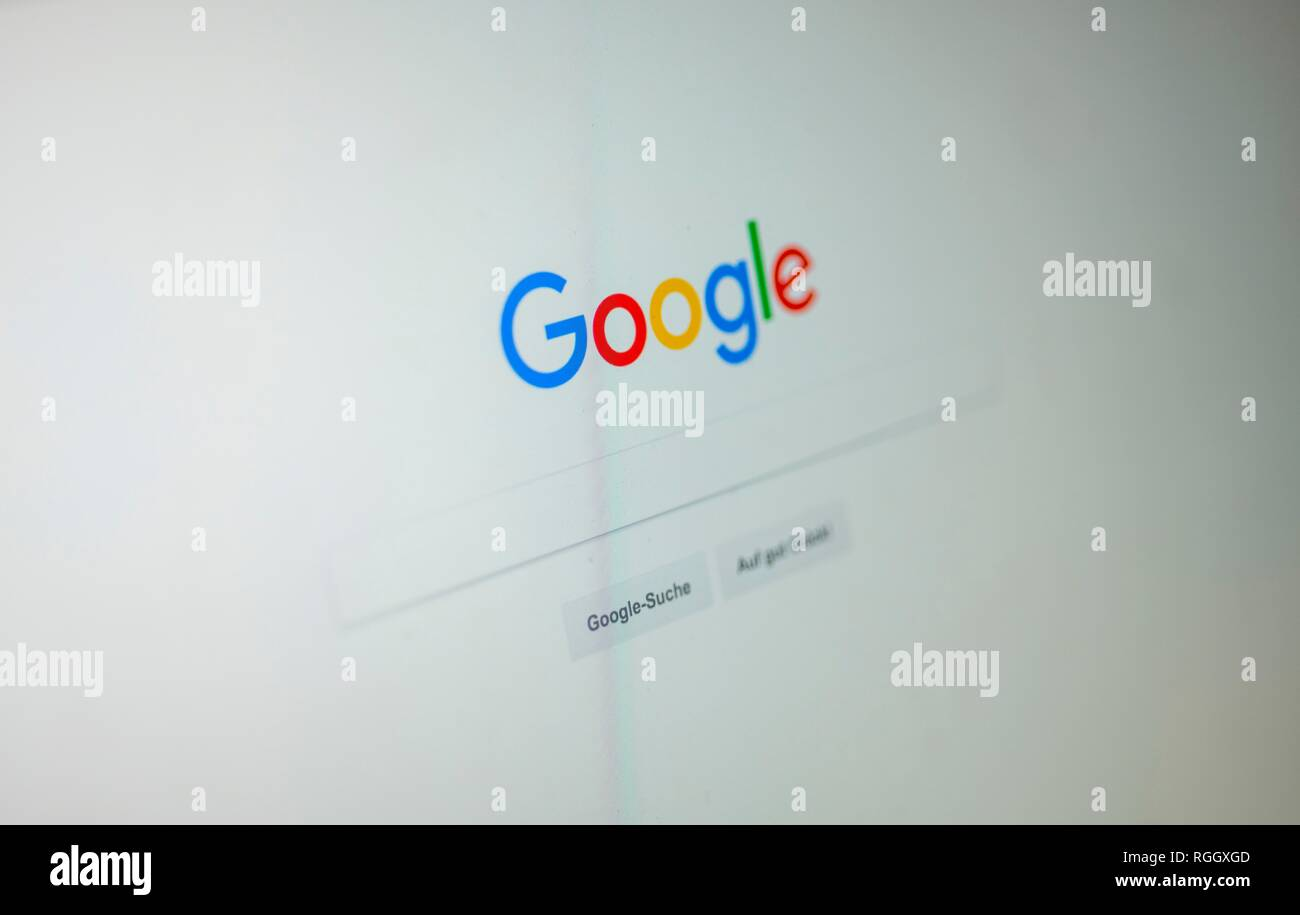 Google, Homepage, Search Engine, Internet, Screenshot, Germany Stock Photo