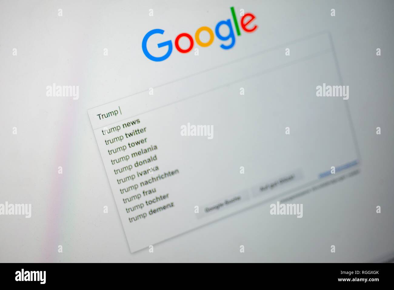 Google, home page with search entry Trump, search engine, Internet, screenshot, Germany - Stock Image