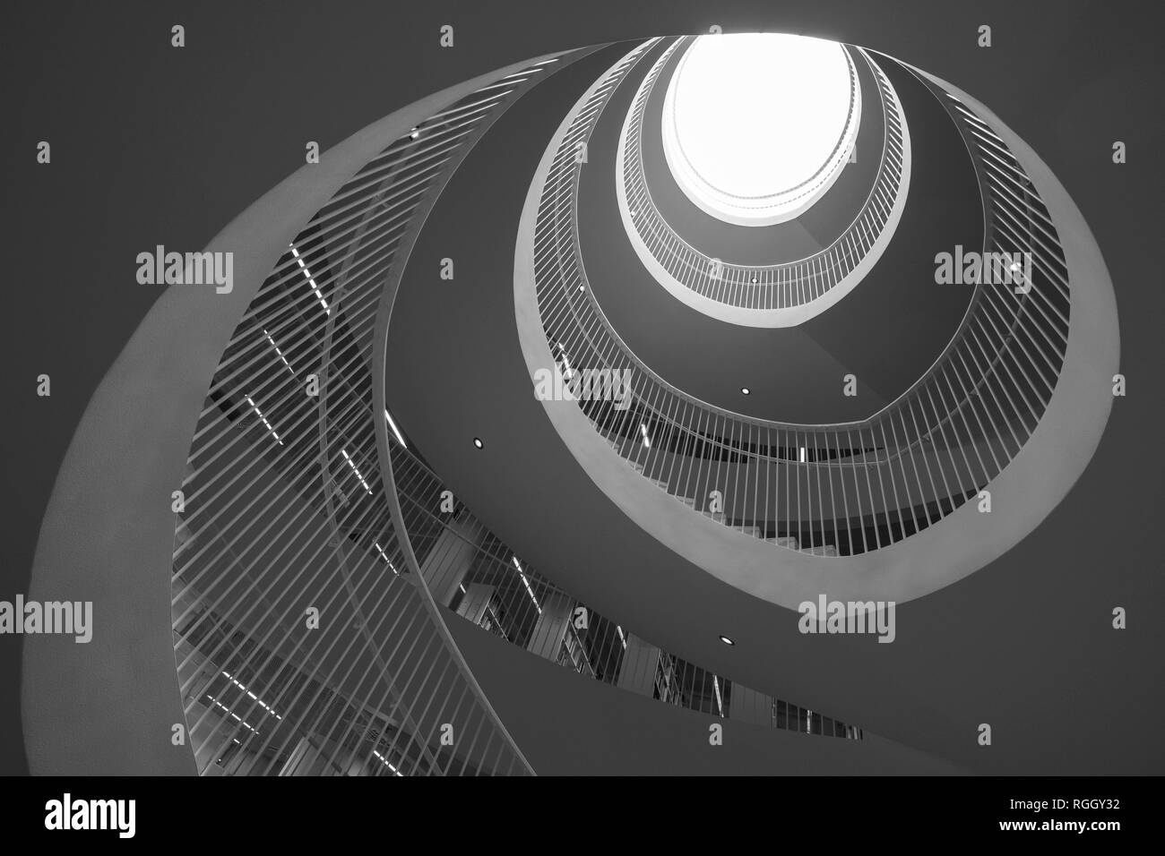 Spiral staircase from below, University Library, Helsingin yliopiston kirjasto, Interior, Helsinki, Finland - Stock Image