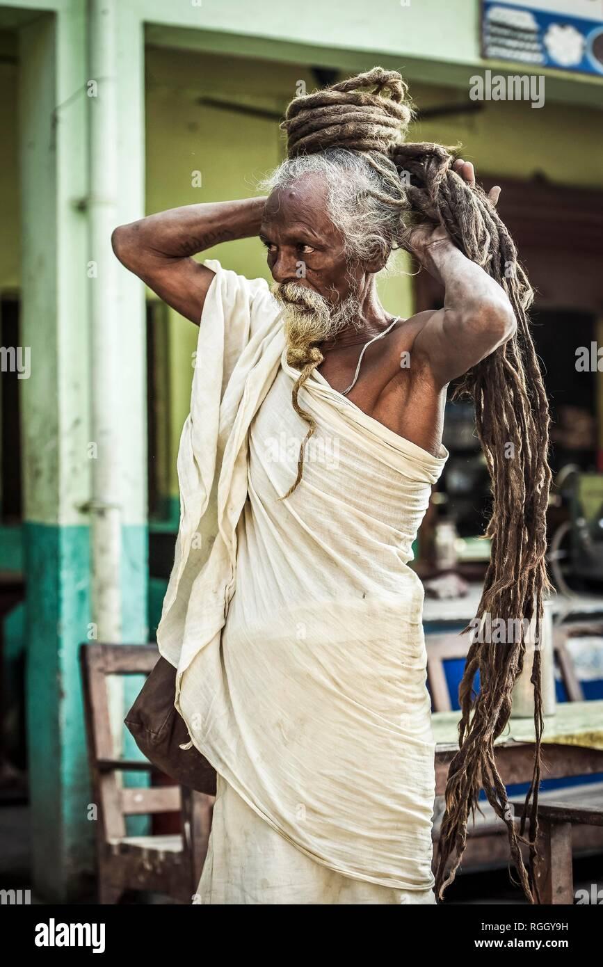 Sadhu, holy man, yogi with Rasta dreadlocks hairstyle, Lumbini, Nepal - Stock Image