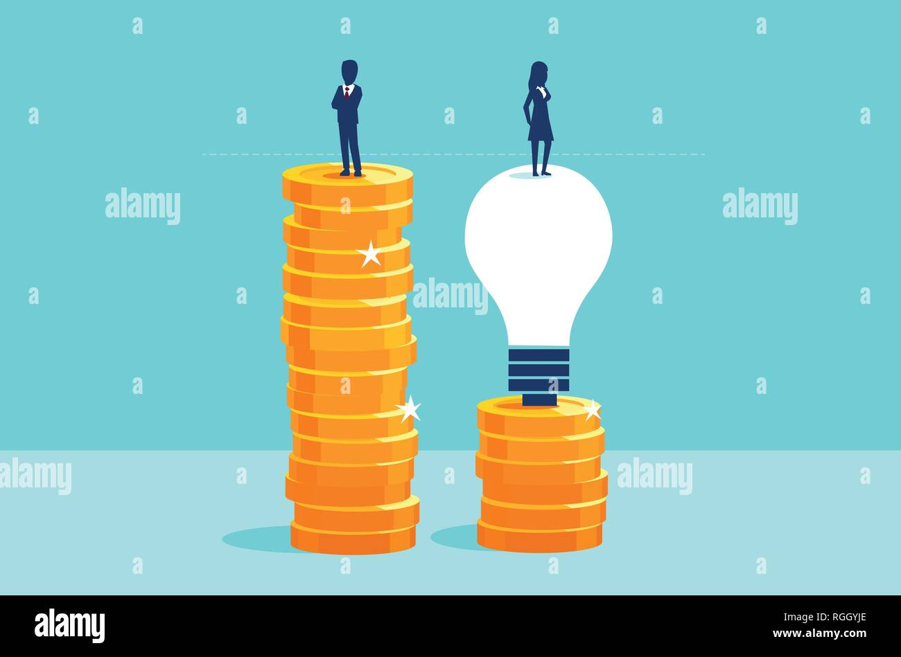 Corporate job and education opportunities for women concept. Vector of an educated businesswoman reaching same pay level as a businessman - Stock Image