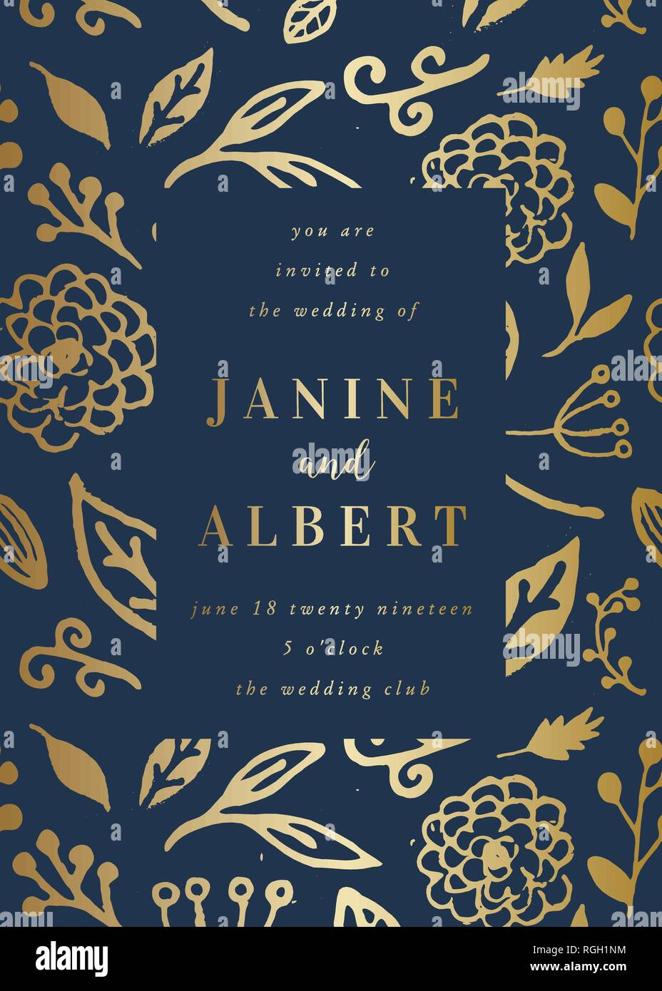 Wedding Invitation Design Template With Golden Florals On