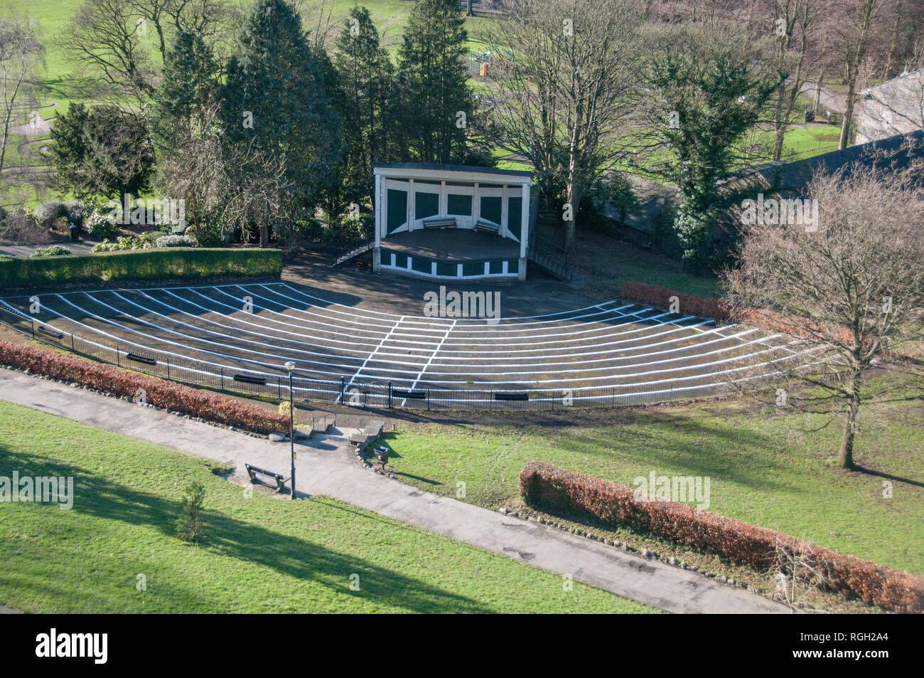 The Bandstand situated in the shadow of Clitheroe Castle, in the heart of the Ribble Valley. - Stock Image