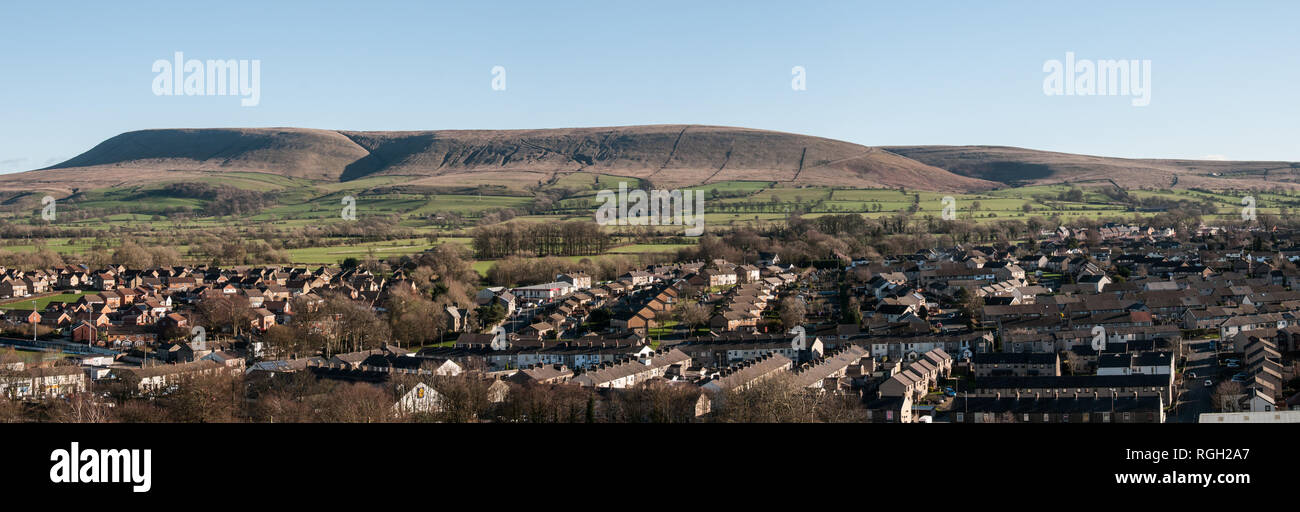 Pendle Hill viewed from Clitheroe Castle - Stock Image
