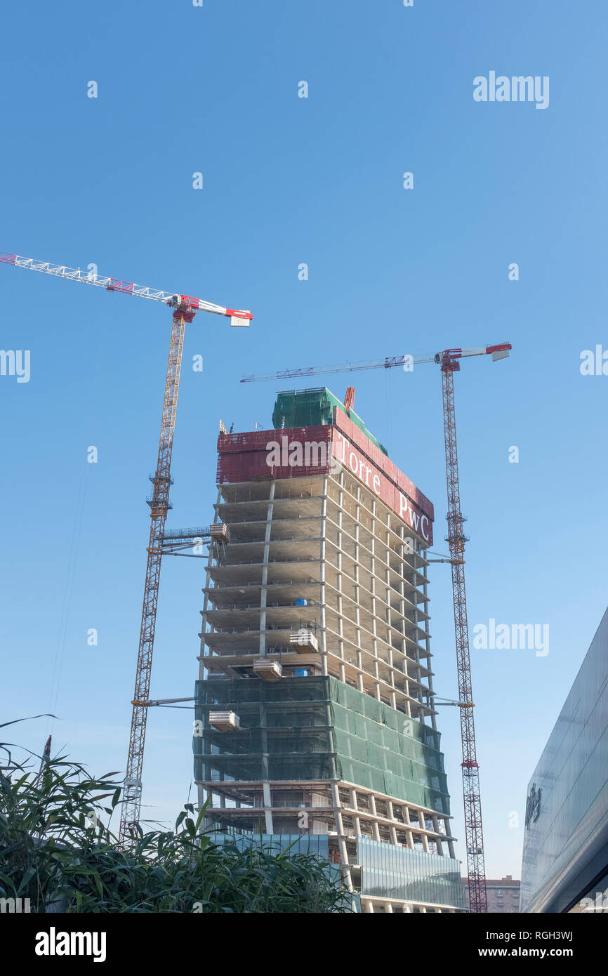 Libeskind tower under construction in CityLife district of Milan, it will be fully occupied by PWC - Stock Image