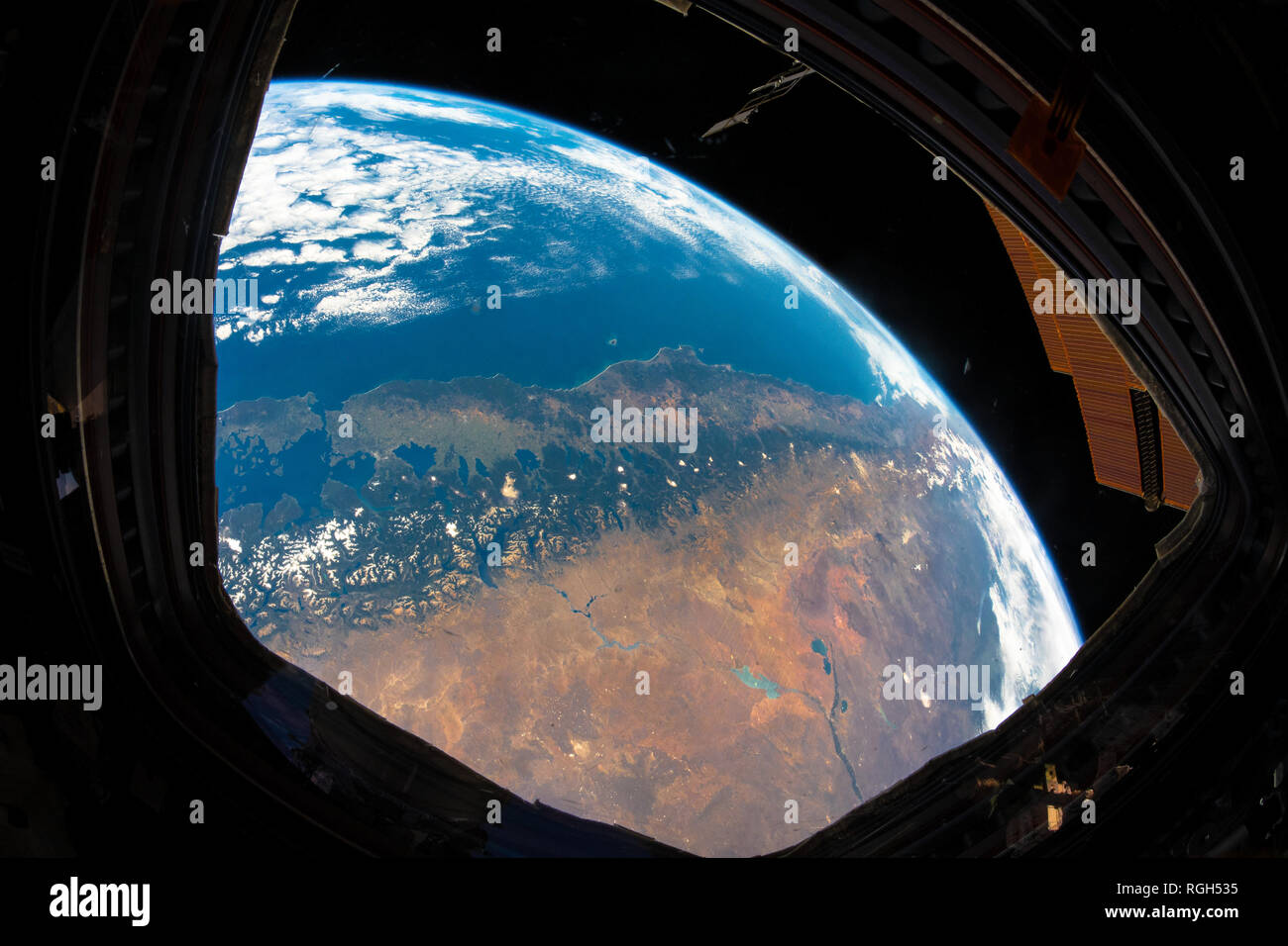 Beautiful planet Earth, our home planet, seen from the International Space Station. Framed images. Images are a  handout from NASA. I have cleaned and - Stock Image