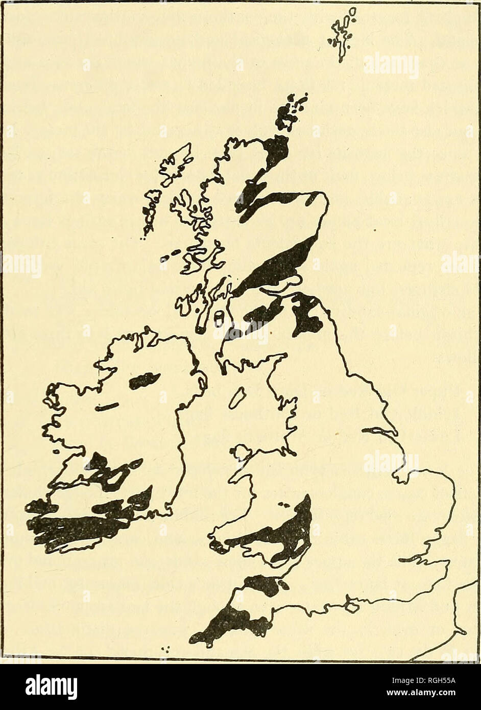 . Bulletin of the Buffalo Society of Natural Sciences. Natural history; Science. BUFFALO SOCIETY OF NATURAL SCIENCES 169 The present outcrops of the Old Red sandstone in the British Isles are for the most part discontinuous and decidedly patchy. They fall roughly into five areas (see index map, fig. 16): (1) The Caithness-. Fig. 16. Sketch Map of British Isles Showing Distribution of the Old Red Sandstone (After Lake and Rastall) Orkney Islands region with a northward continuation into the Shet- lands and a southward one into Sutherland and Rosshire, including the coastal strips on both sides  - Stock Image