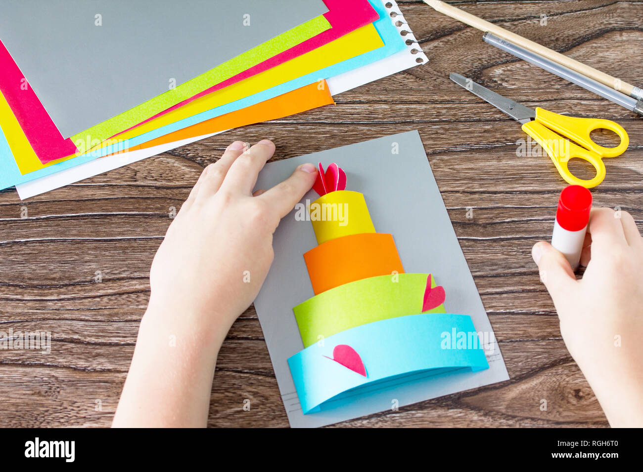 The Child Glue Greeting Card With Birthday Cake Congratulation Childrens Art Project Craft For Kids Children